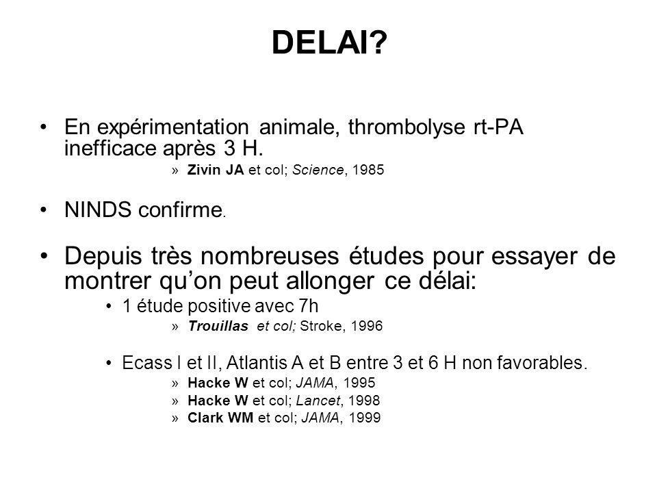 DELAI? En expérimentation animale, thrombolyse rt-PA inefficace après 3 H. »Zivin JA et col; Science, 1985 NINDS confirme. Depuis très nombreuses étud