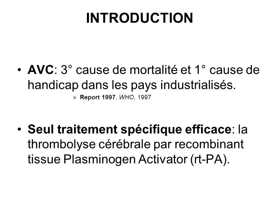 INTRODUCTION AVC: 3° cause de mortalité et 1° cause de handicap dans les pays industrialisés. »Report 1997. WHO, 1997 Seul traitement spécifique effic