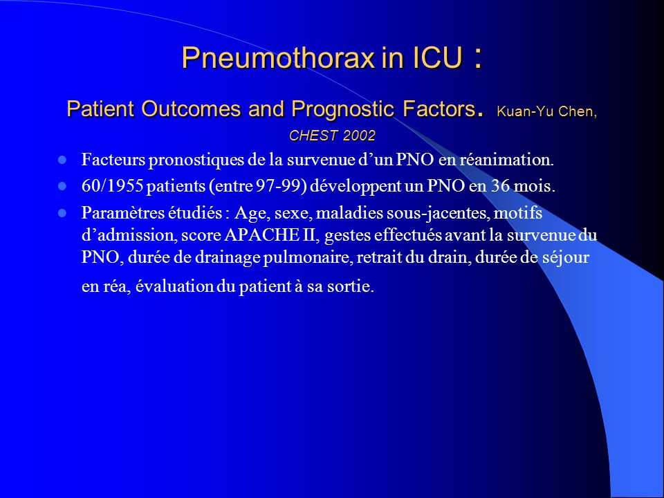 Pneumothorax in ICU : Patient Outcomes and Prognostic Factors. Kuan-Yu Chen, CHEST 2002 Facteurs pronostiques de la survenue dun PNO en réanimation. 6