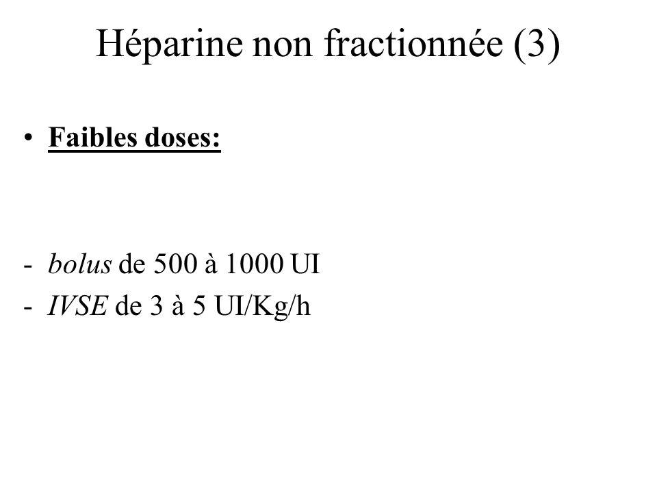 Héparine non fractionnée (3) Faibles doses: -bolus de 500 à 1000 UI -IVSE de 3 à 5 UI/Kg/h