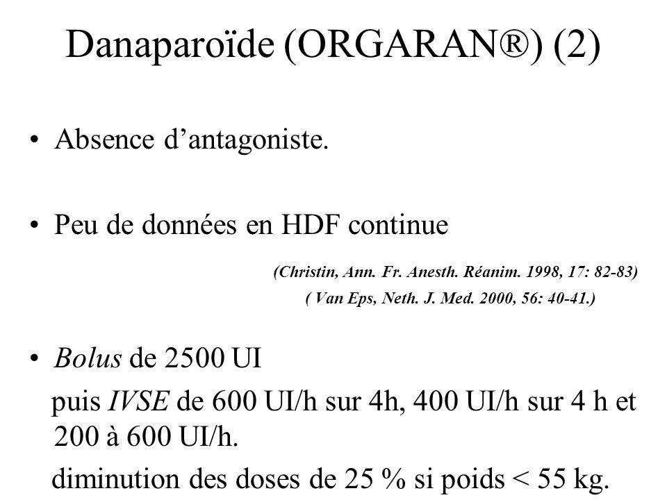 Danaparoïde (ORGARAN®) (2) Absence dantagoniste. Peu de données en HDF continue (Christin, Ann. Fr. Anesth. Réanim. 1998, 17: 82-83) ( Van Eps, Neth.