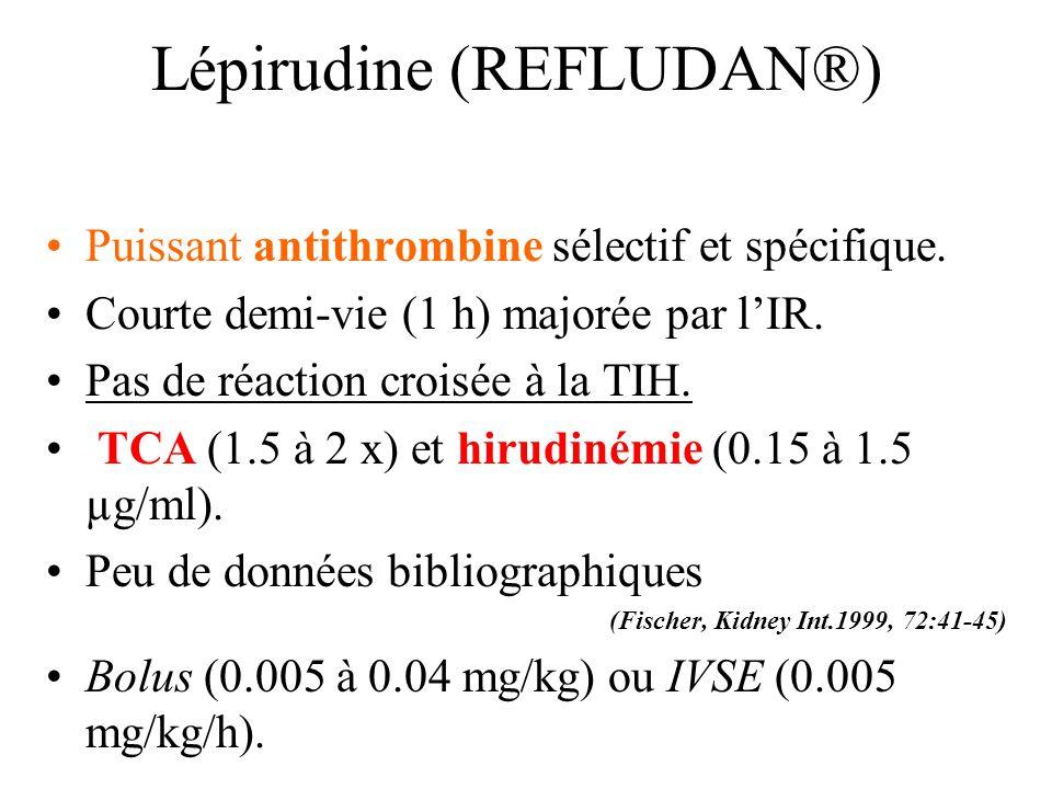Lépirudine (REFLUDAN®) Puissant antithrombine sélectif et spécifique. Courte demi-vie (1 h) majorée par lIR. Pas de réaction croisée à la TIH. TCA (1.