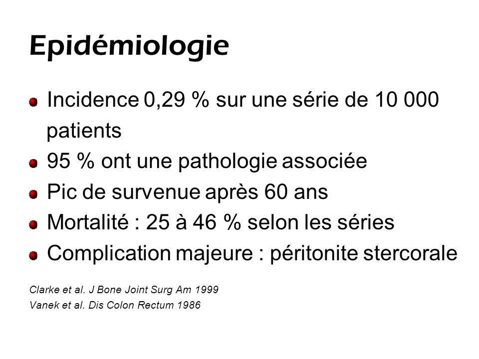 Epidémiologie Incidence 0,29 % sur une série de 10 000 patients 95 % ont une pathologie associée Pic de survenue après 60 ans Mortalité : 25 à 46 % selon les séries Complication majeure : péritonite stercorale Clarke et al.