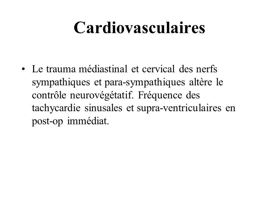 Cardiovasculaires Le trauma médiastinal et cervical des nerfs sympathiques et para-sympathiques altère le contrôle neurovégétatif. Fréquence des tachy