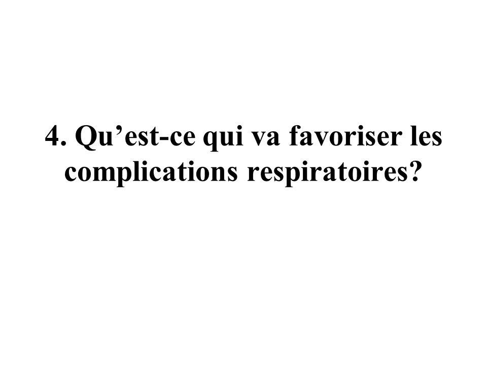 4. Quest-ce qui va favoriser les complications respiratoires?