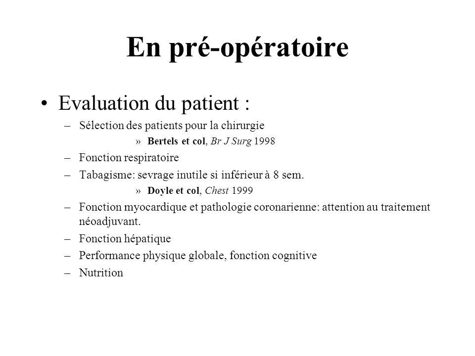 En pré-opératoire Evaluation du patient : –Sélection des patients pour la chirurgie »Bertels et col, Br J Surg 1998 –Fonction respiratoire –Tabagisme: sevrage inutile si inférieur à 8 sem.