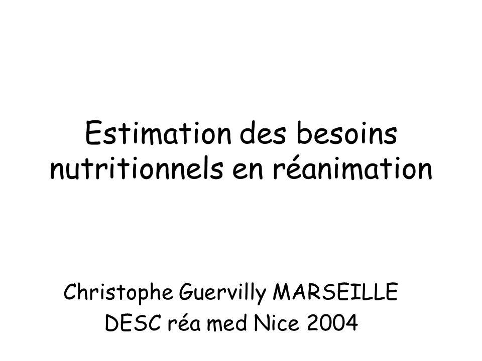 Estimation des besoins nutritionnels en réanimation Christophe Guervilly MARSEILLE DESC réa med Nice 2004