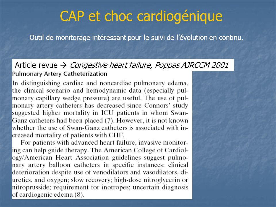 CAP et choc cardiogénique - Outil de monitorage intéressant pour le suivi de lévolution en continu. Article revue Congestive heart failure, Poppas AJR