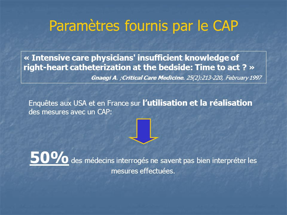Paramètres fournis par le CAP « Intensive care physicians' insufficient knowledge of right-heart catheterization at the bedside: Time to act ? » Gnaeg