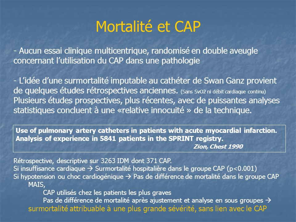 Mortalité et CAP Use of pulmonary artery catheters in patients with acute myocardial infarction. Analysis of experience in 5841 patients in the SPRINT