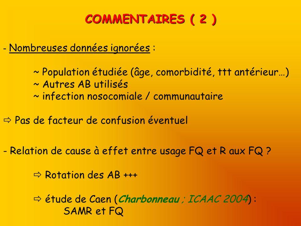 COMMENTAIRES ( 2 ) - Relation de cause à effet entre usage FQ et R aux FQ .