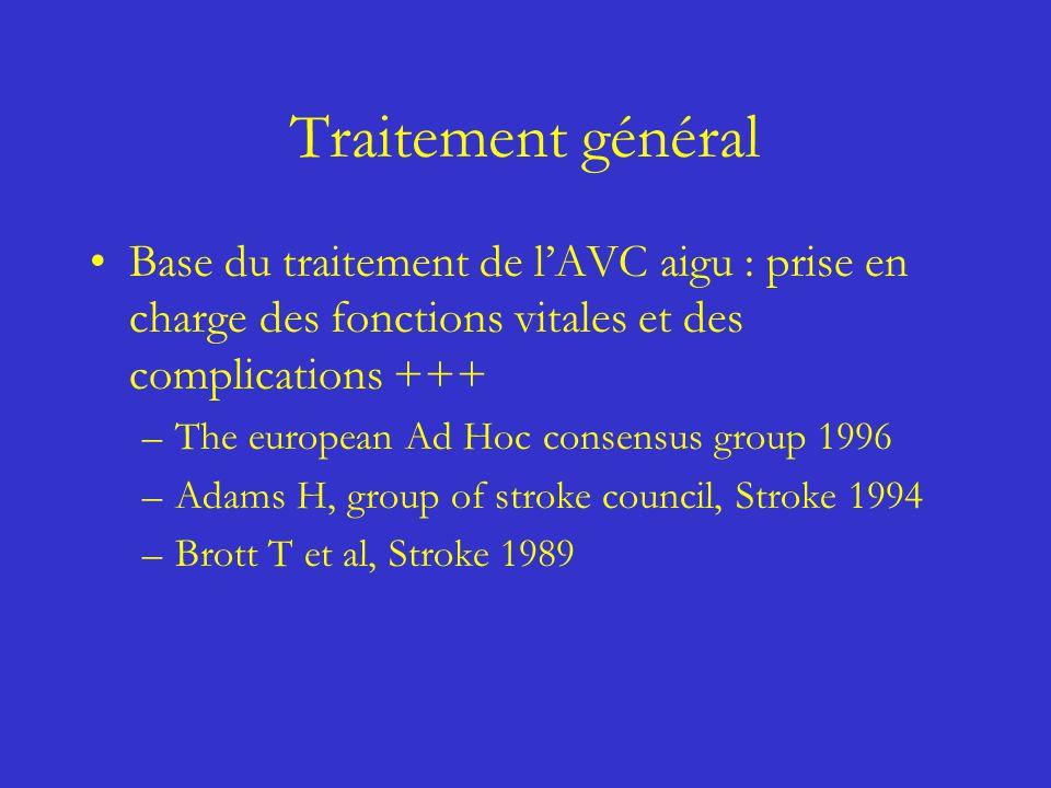 Traitement général Base du traitement de lAVC aigu : prise en charge des fonctions vitales et des complications +++ –The european Ad Hoc consensus gro