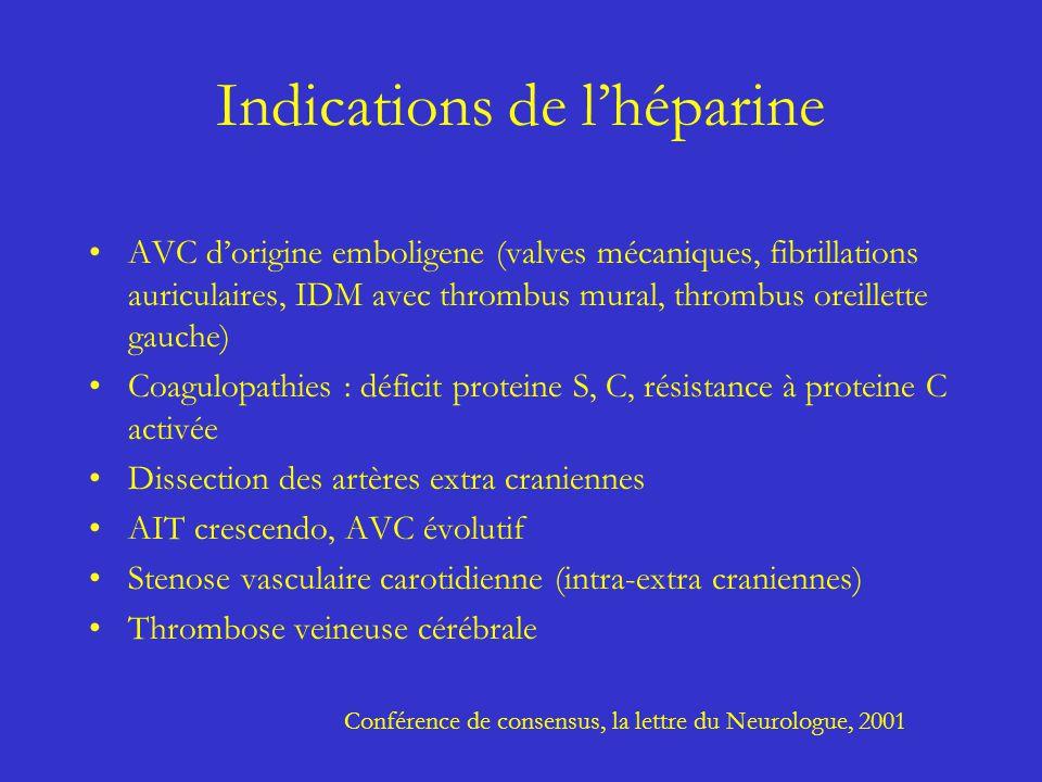 Indications de lhéparine AVC dorigine emboligene (valves mécaniques, fibrillations auriculaires, IDM avec thrombus mural, thrombus oreillette gauche)