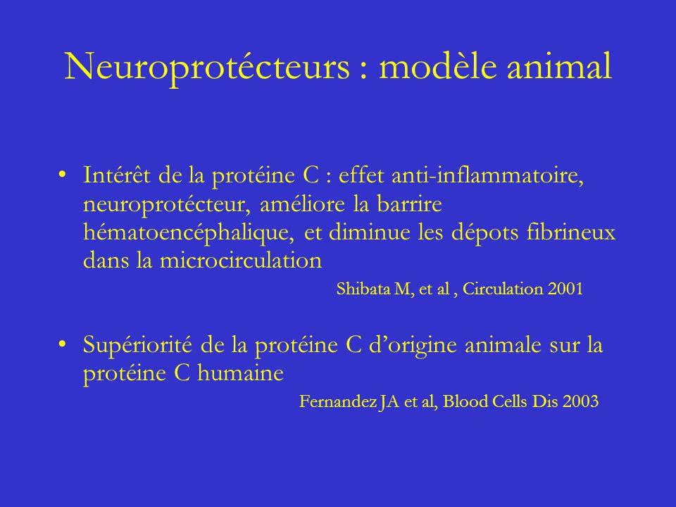 Neuroprotécteurs : modèle animal Intérêt de la protéine C : effet anti-inflammatoire, neuroprotécteur, améliore la barrire hématoencéphalique, et dimi