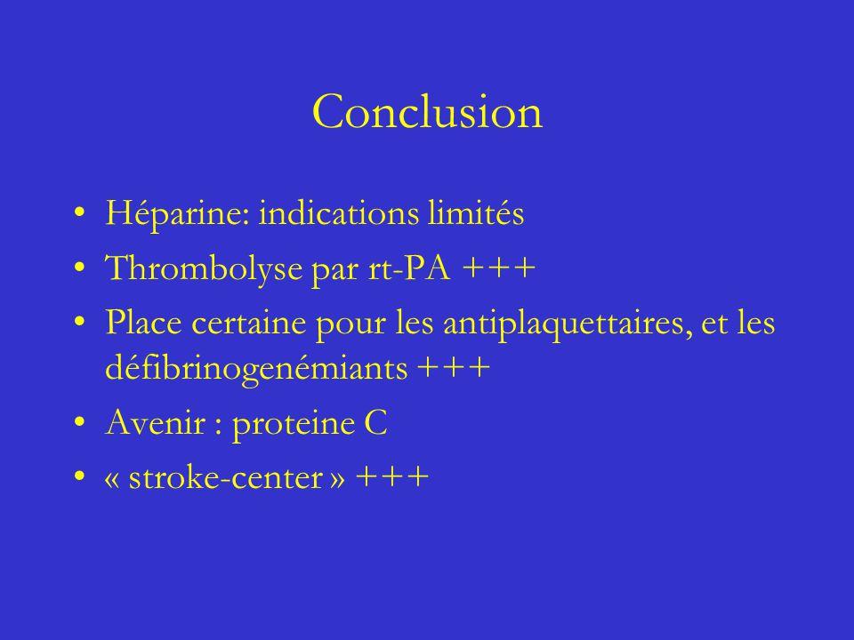 Conclusion Héparine: indications limités Thrombolyse par rt-PA +++ Place certaine pour les antiplaquettaires, et les défibrinogenémiants +++ Avenir :