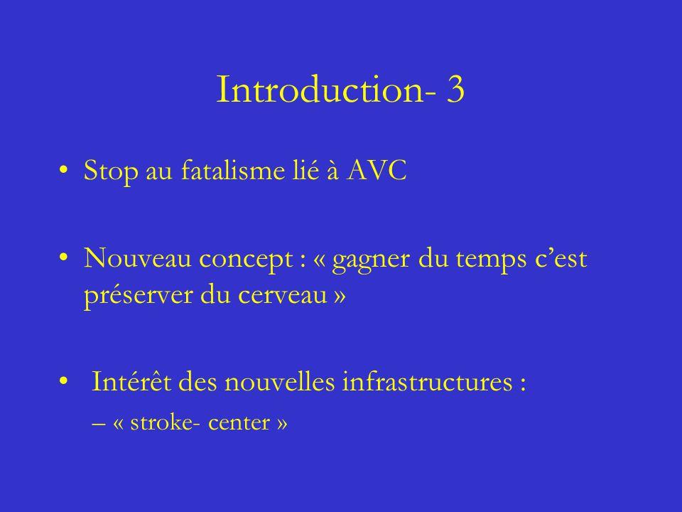 Introduction- 3 Stop au fatalisme lié à AVC Nouveau concept : « gagner du temps cest préserver du cerveau » Intérêt des nouvelles infrastructures : –«