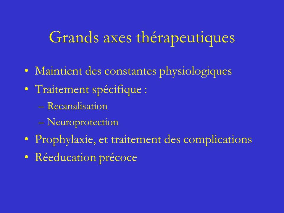 Grands axes thérapeutiques Maintient des constantes physiologiques Traitement spécifique : –Recanalisation –Neuroprotection Prophylaxie, et traitement