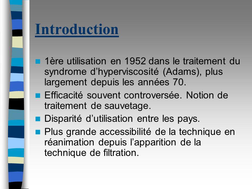 Introduction 1ère utilisation en 1952 dans le traitement du syndrome dhyperviscosité (Adams), plus largement depuis les années 70.