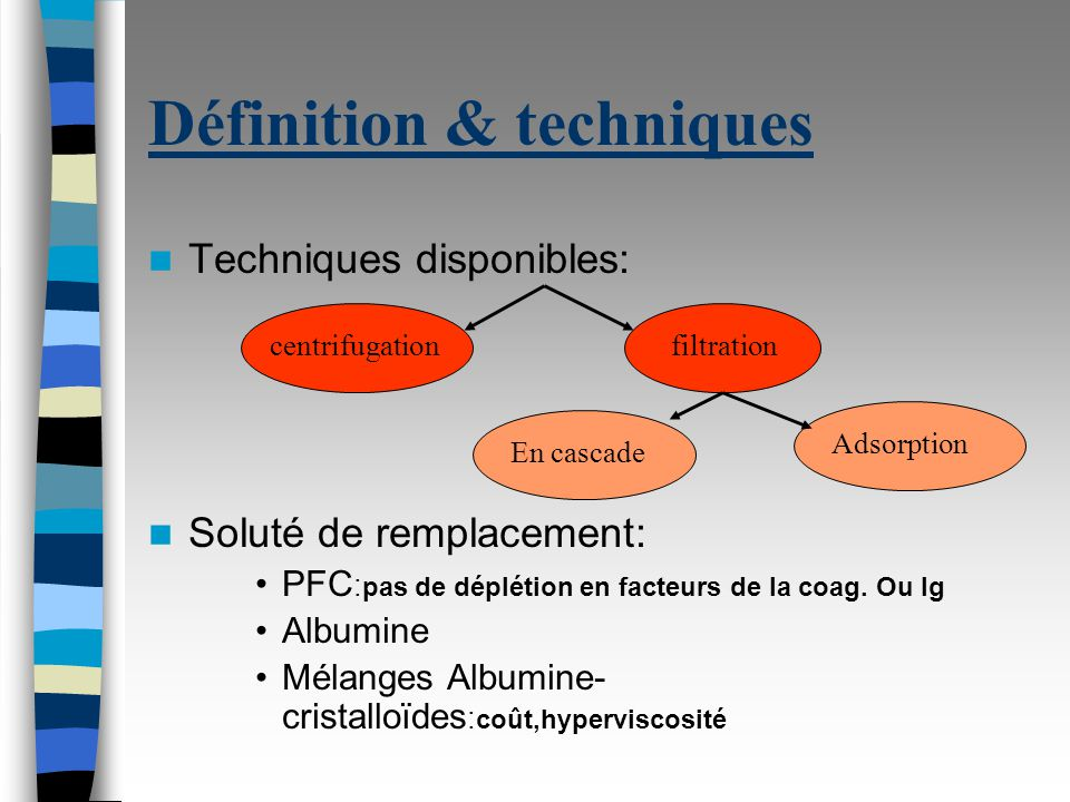 Définition & techniques Techniques disponibles: Soluté de remplacement: PFC : pas de déplétion en facteurs de la coag.