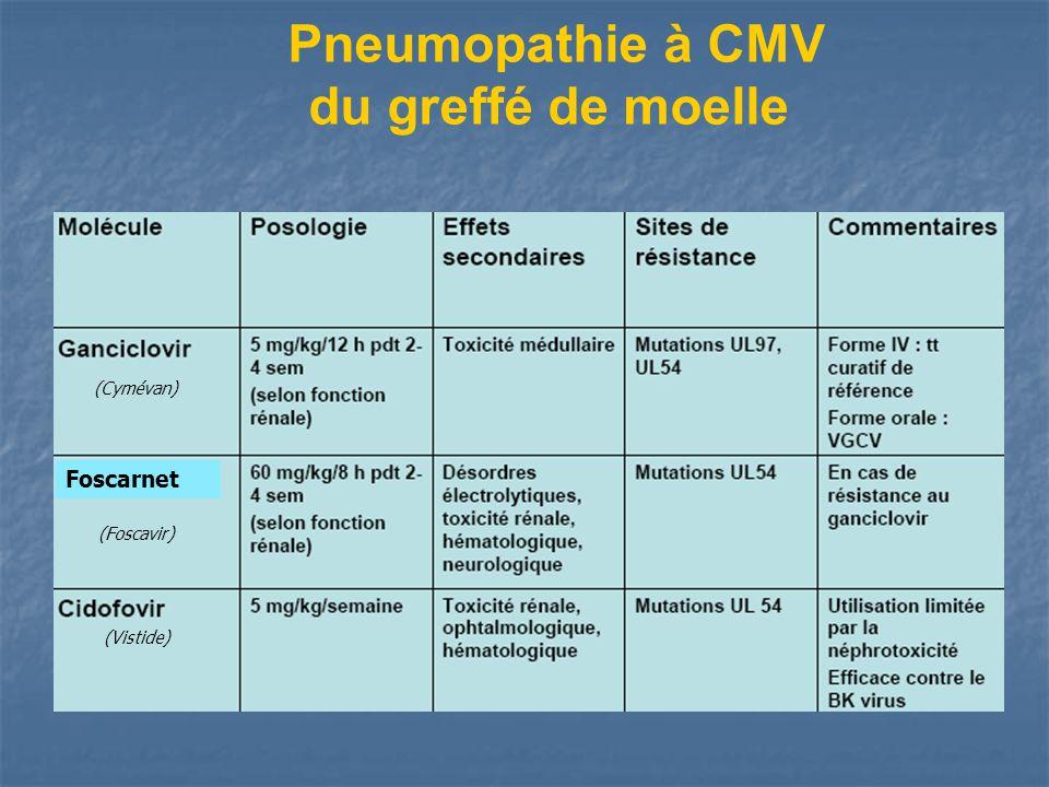Pneumopathie à CMV du greffé de moelle Traitement spécifique: Antirétroviraux ET Immunoglobulines à haute dose (Cymévan) (Foscavir) (Vistide) Foscarne