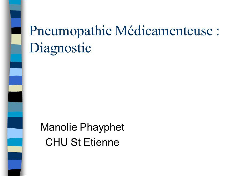 Circonstances de diagnostic n Patients traités au long court, pathologie chronique: ++ –dyspnée, toux, douleurs thoraciques, amaigrissement n Découverte d image pulmonaire évocatrice au cours d une surveillance systématique n Détresse respiratoire aigue
