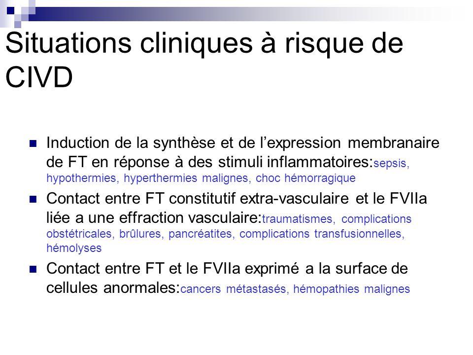Situations cliniques à risque de CIVD Induction de la synthèse et de lexpression membranaire de FT en réponse à des stimuli inflammatoires: sepsis, hy