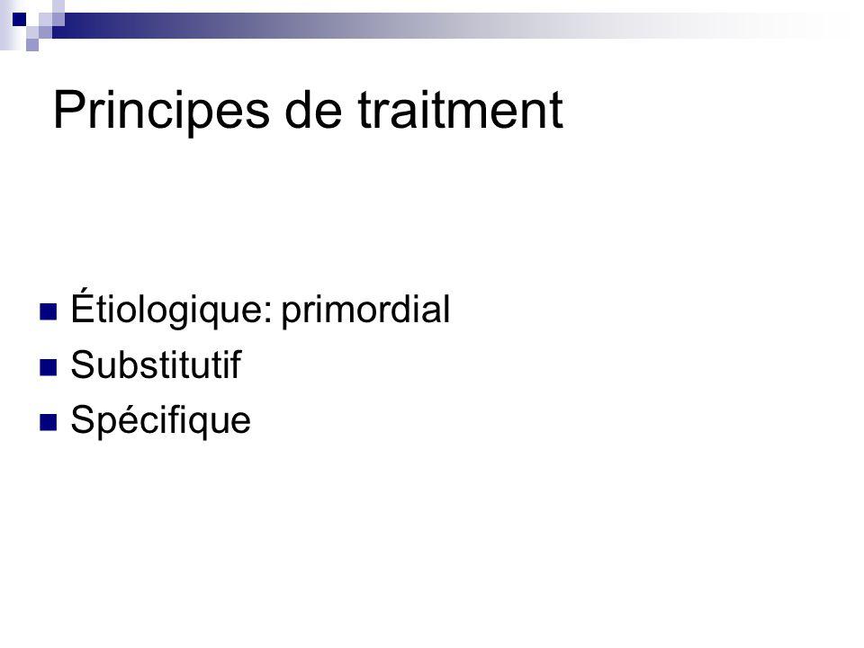 Traitement substitutif Transfusion plaquettaire (d) <50 000 plaquettes/mm et facteurs de risque hémorragique: acte invasif, thrombopathie associée Hémorragie grave Plasma frais congelé (d) TP< 35-40% et hémorragie/ acte invasif Fibrinogène: pas dindication (d) Complexe prothrombique: contre-indiqué (d) XXII ème Conférence de Consensus: SFAR, SFH, GEHT, SFRUP CIVD en réanimation: définition, classification, traitement 2002