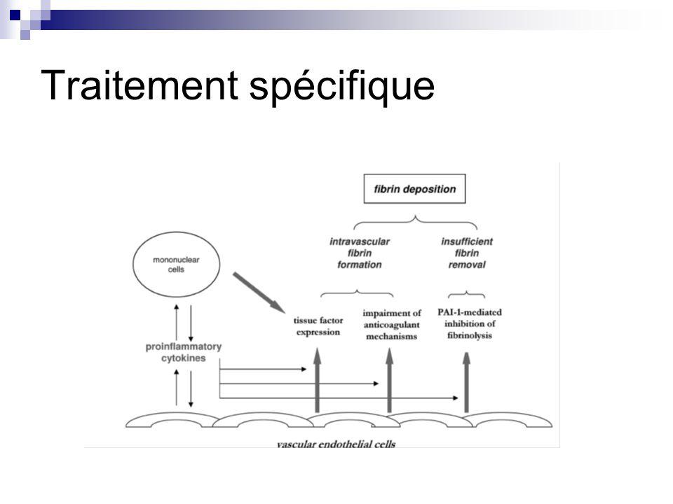 Inhibiteurs de la voie du facteur tissulaire et concentrés de protéine C nest pas validée (c) Pas dinformation sur lefficacité du recombinant activé de la PC ( drotrecogine ) (d) Antithrombine améliore la CIVD du sepsis (a) Héparine: pas démontrée (c) Modulateurs de la fibrinolyse: pas démontrée (c) XXII ème Conférence de Consensus: SFAR, SFH, GEHT, SFRUP CIVD en réanimation: définition, classification, traitement 2002
