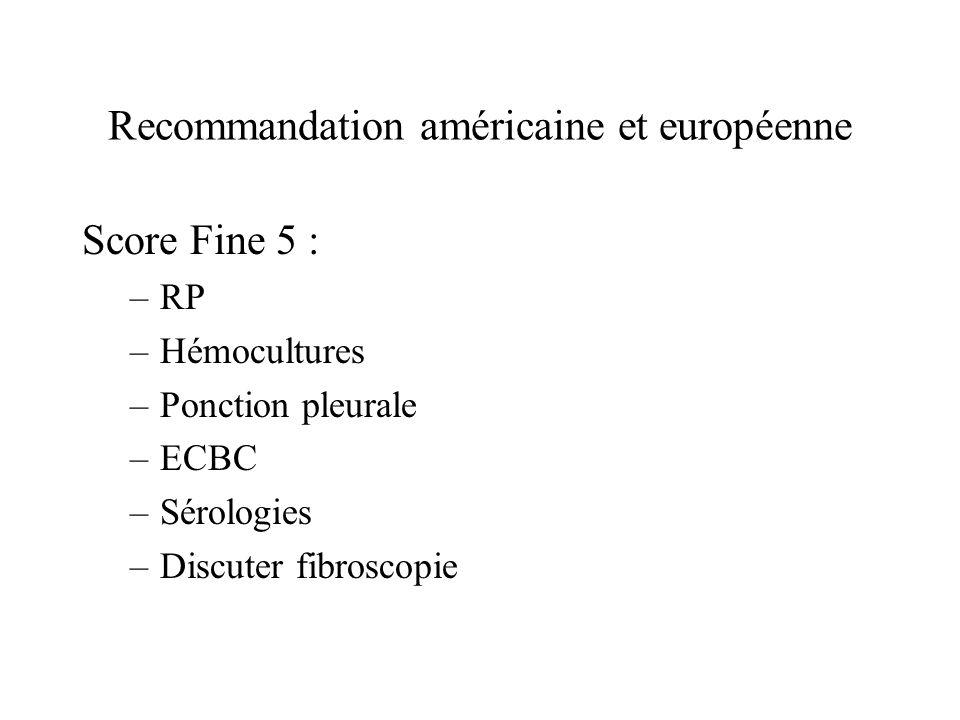 Recommandation américaine et européenne Score Fine 5 : –RP –Hémocultures –Ponction pleurale –ECBC –Sérologies –Discuter fibroscopie