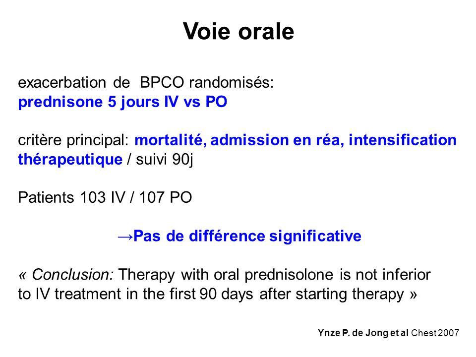 Ynze P. de Jong et al Chest 2007 Voie orale exacerbation de BPCO randomisés: prednisone 5 jours IV vs PO critère principal: mortalité, admission en ré