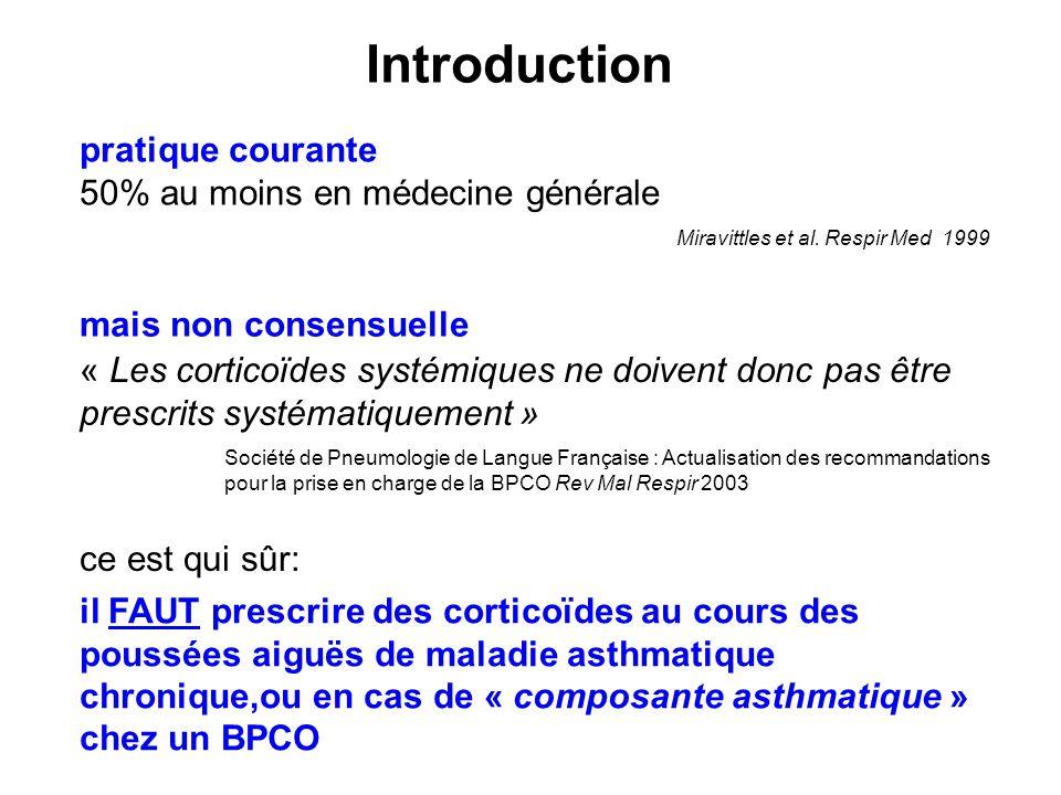 pratique courante 50% au moins en médecine générale Miravittles et al. Respir Med 1999 mais non consensuelle Société de Pneumologie de Langue Français