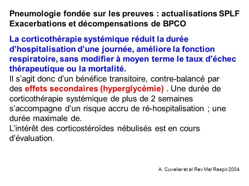 La corticothérapie systémique réduit la durée dhospitalisation dune journée, améliore la fonction respiratoire, sans modifier à moyen terme le taux dé