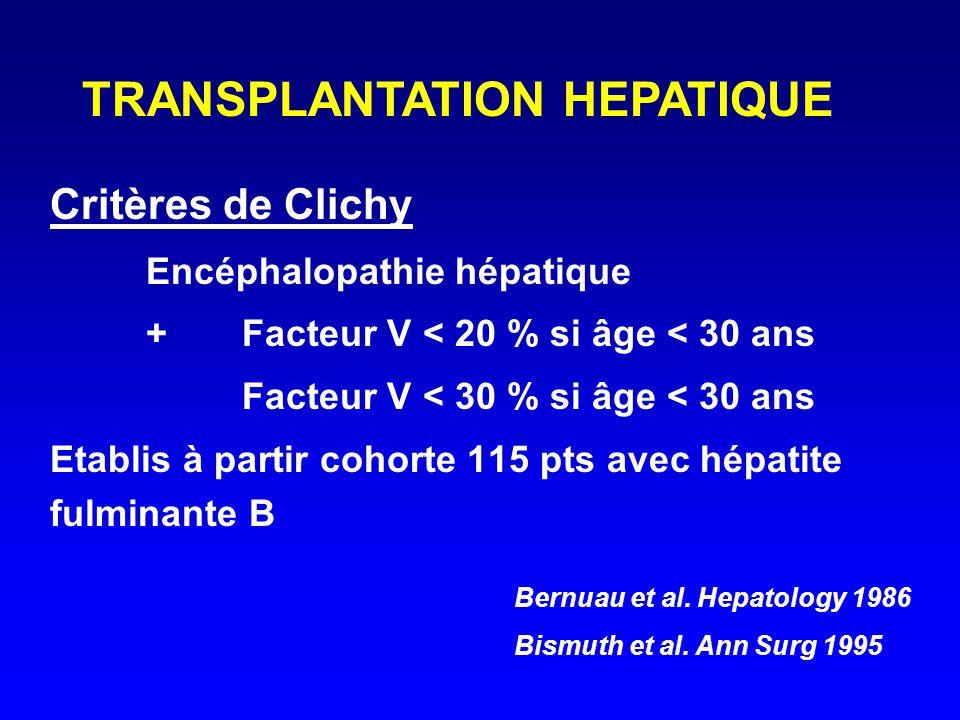 Critères de Clichy Encéphalopathie hépatique + Facteur V < 20 % si âge < 30 ans Facteur V < 30 % si âge < 30 ans Etablis à partir cohorte 115 pts avec