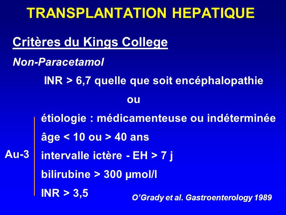 TRANSPLANTATION HEPATIQUE Critères du Kings College Non-Paracetamol INR > 6,7 quelle que soit encéphalopathie ou étiologie : médicamenteuse ou indéter