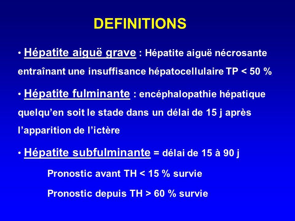 DEFINITIONS Hépatite aiguë grave : Hépatite aiguë nécrosante entraînant une insuffisance hépatocellulaire TP < 50 % Hépatite fulminante : encéphalopat