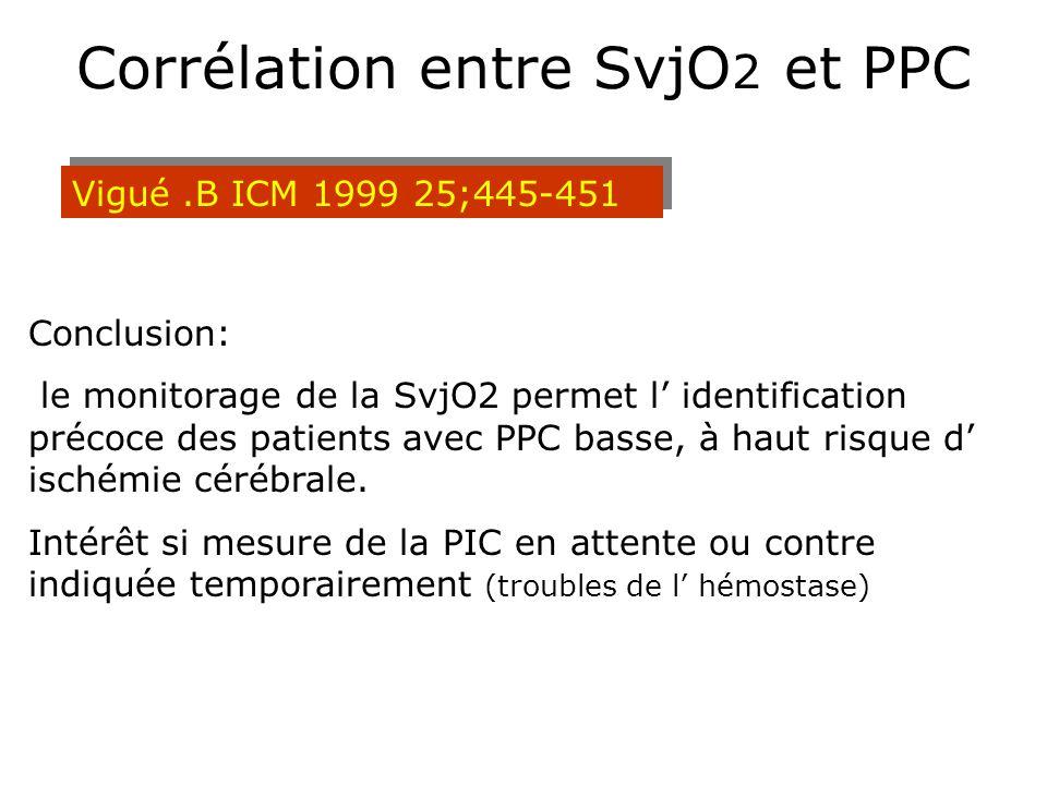 Corrélation entre SvjO 2 et PPC Vigué.B ICM 1999 25;445-451 Conclusion: le monitorage de la SvjO2 permet l identification précoce des patients avec PP
