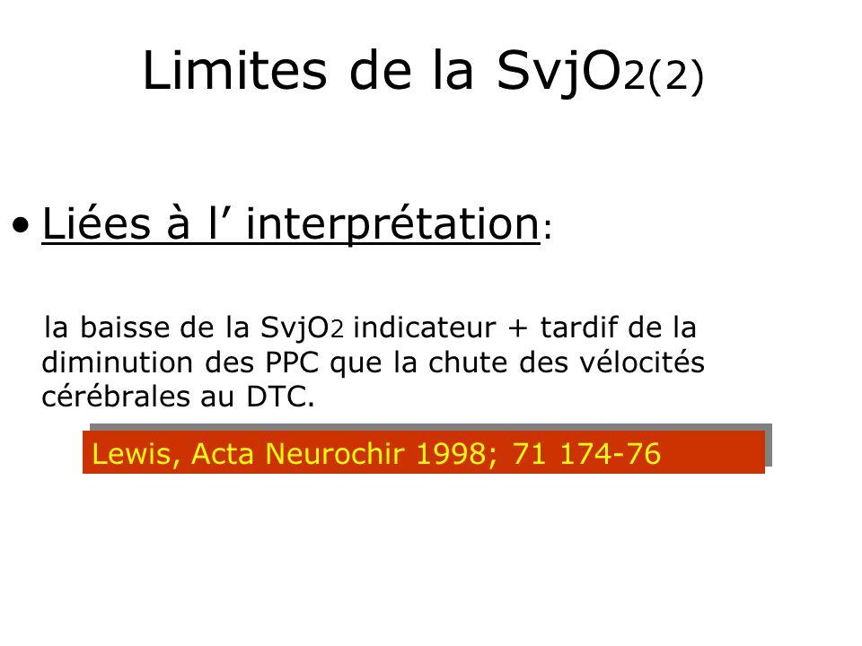 Limites de la SvjO 2(2) Liées à l interprétation : la baisse de la SvjO 2 indicateur + tardif de la diminution des PPC que la chute des vélocités céré