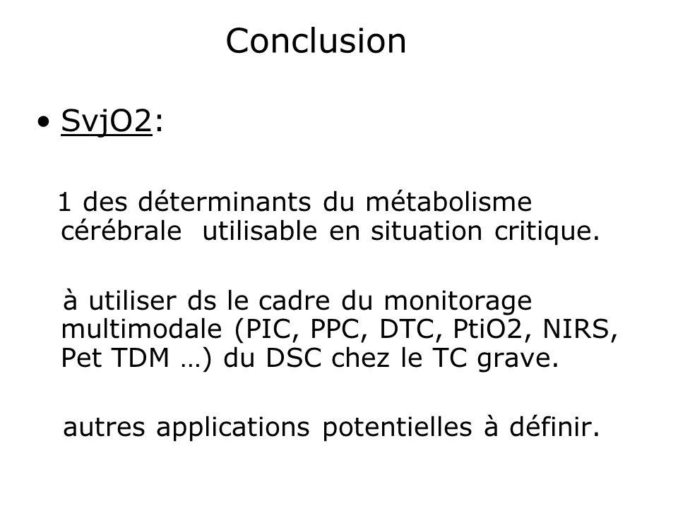 Conclusion SvjO2: 1 des déterminants du métabolisme cérébrale utilisable en situation critique. à utiliser ds le cadre du monitorage multimodale (PIC,