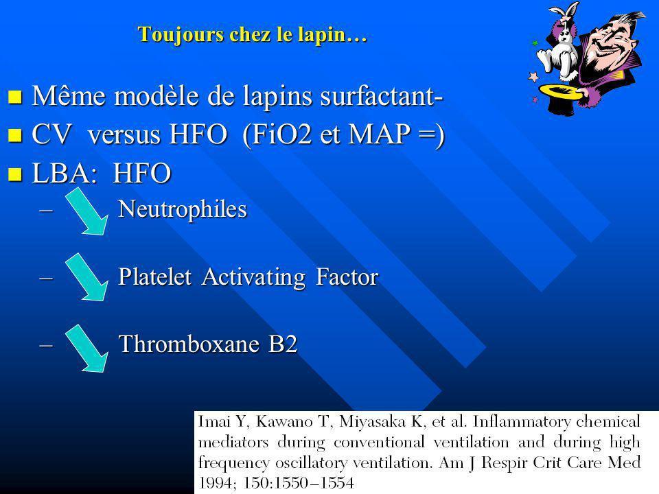 Toujours chez le lapin… Même modèle de lapins surfactant- Même modèle de lapins surfactant- CV versus HFO (FiO2 et MAP =) CV versus HFO (FiO2 et MAP =) LBA: HFO LBA: HFO – Neutrophiles – Platelet Activating Factor – Thromboxane B2