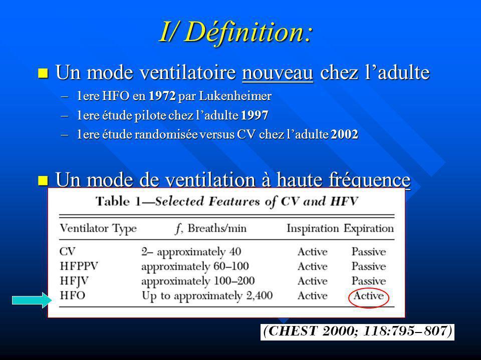 I/ Définition: Un mode ventilatoire nouveau chez ladulte Un mode ventilatoire nouveau chez ladulte –1ere HFO en 1972 par Lukenheimer –1ere étude pilote chez ladulte 1997 –1ere étude randomisée versus CV chez ladulte 2002 Un mode de ventilation à haute fréquence Un mode de ventilation à haute fréquence