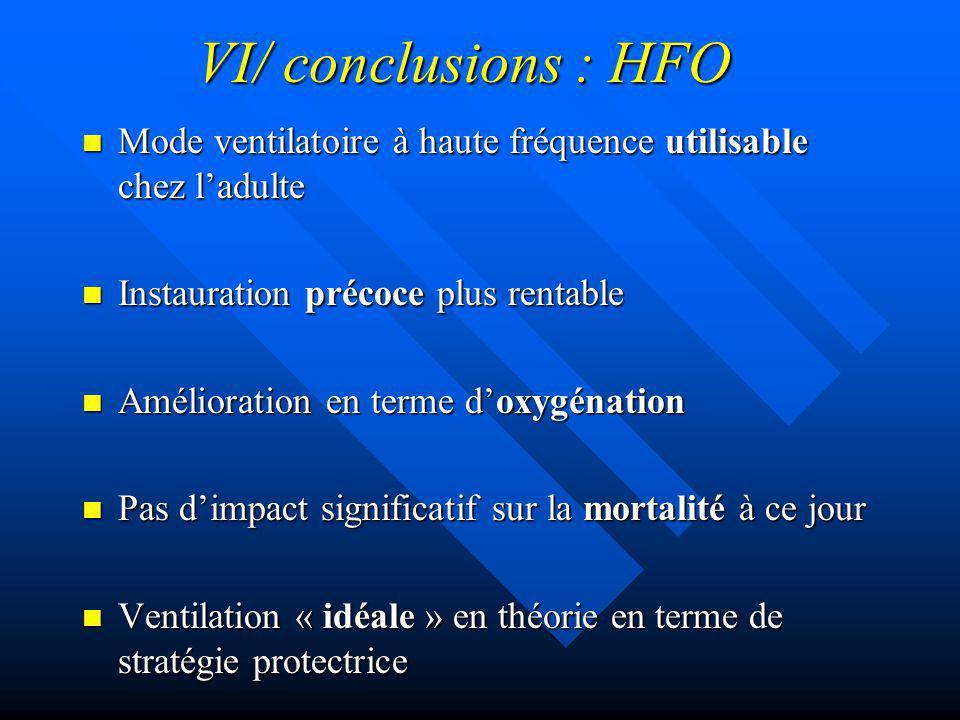 VI/ conclusions : HFO Mode ventilatoire à haute fréquence utilisable chez ladulte Mode ventilatoire à haute fréquence utilisable chez ladulte Instaura