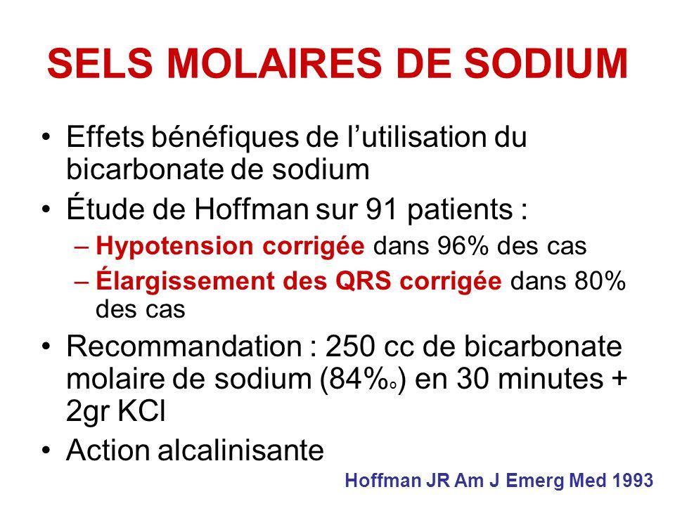 SELS MOLAIRES DE SODIUM Effets bénéfiques de lutilisation du bicarbonate de sodium Étude de Hoffman sur 91 patients : –Hypotension corrigée dans 96% des cas –Élargissement des QRS corrigée dans 80% des cas Recommandation : 250 cc de bicarbonate molaire de sodium (84% º ) en 30 minutes + 2gr KCl Action alcalinisante Hoffman JR Am J Emerg Med 1993