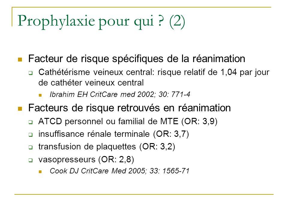 Prophylaxie pour qui ? (2) Facteur de risque spécifiques de la réanimation Cathétérisme veineux central: risque relatif de 1,04 par jour de cathéter v