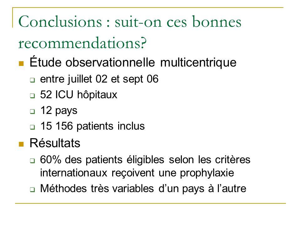 Conclusions : suit-on ces bonnes recommendations? Étude observationnelle multicentrique entre juillet 02 et sept 06 52 ICU hôpitaux 12 pays 15 156 pat