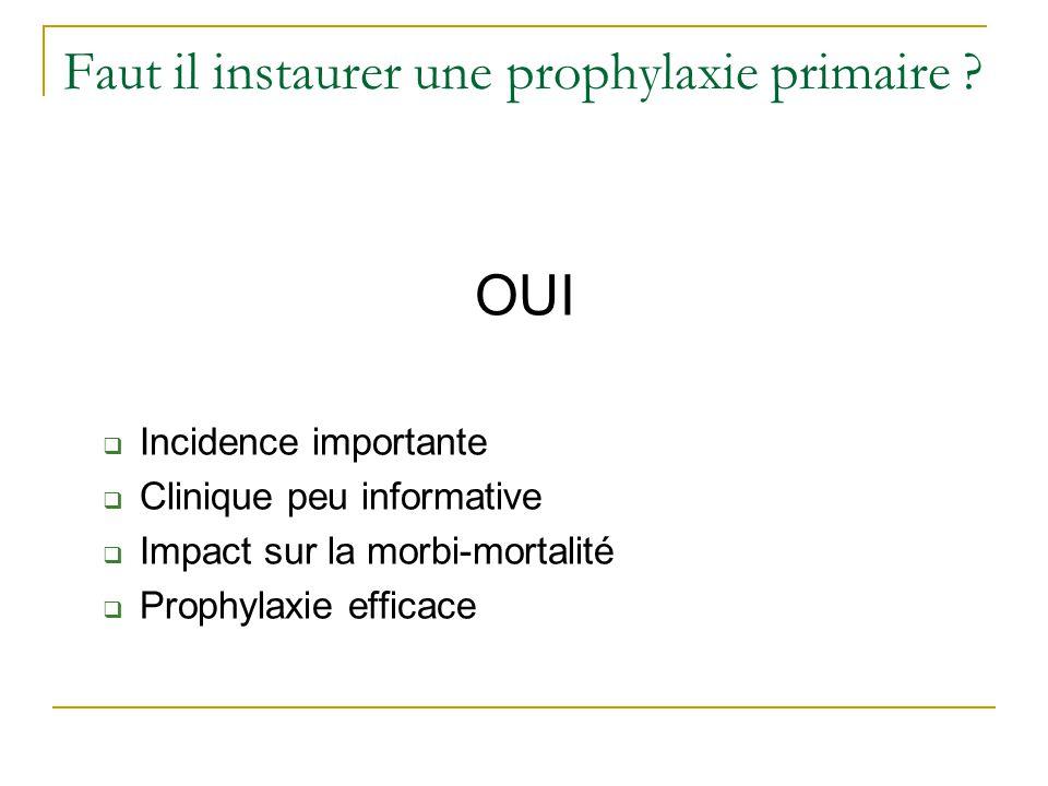 Faut il instaurer une prophylaxie primaire ? OUI Incidence importante Clinique peu informative Impact sur la morbi-mortalité Prophylaxie efficace