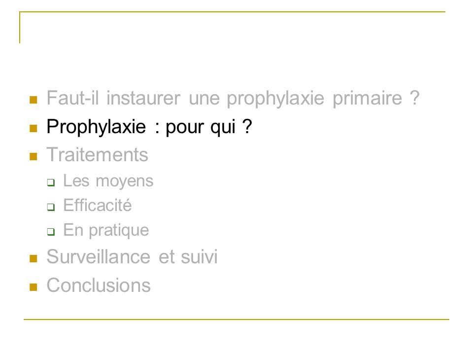 Faut-il instaurer une prophylaxie primaire ? Prophylaxie : pour qui ? Traitements Les moyens Efficacité En pratique Surveillance et suivi Conclusions