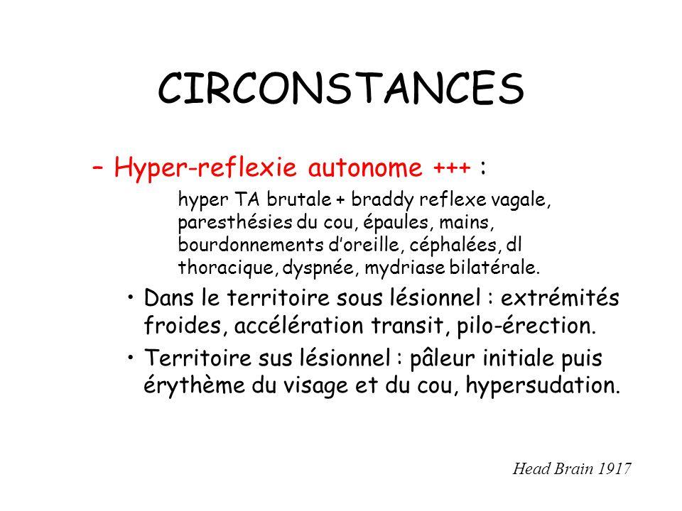 CIRCONSTANCES –Hyper-reflexie autonome +++ : hyper TA brutale + braddy reflexe vagale, paresthésies du cou, épaules, mains, bourdonnements doreille, céphalées, dl thoracique, dyspnée, mydriase bilatérale.