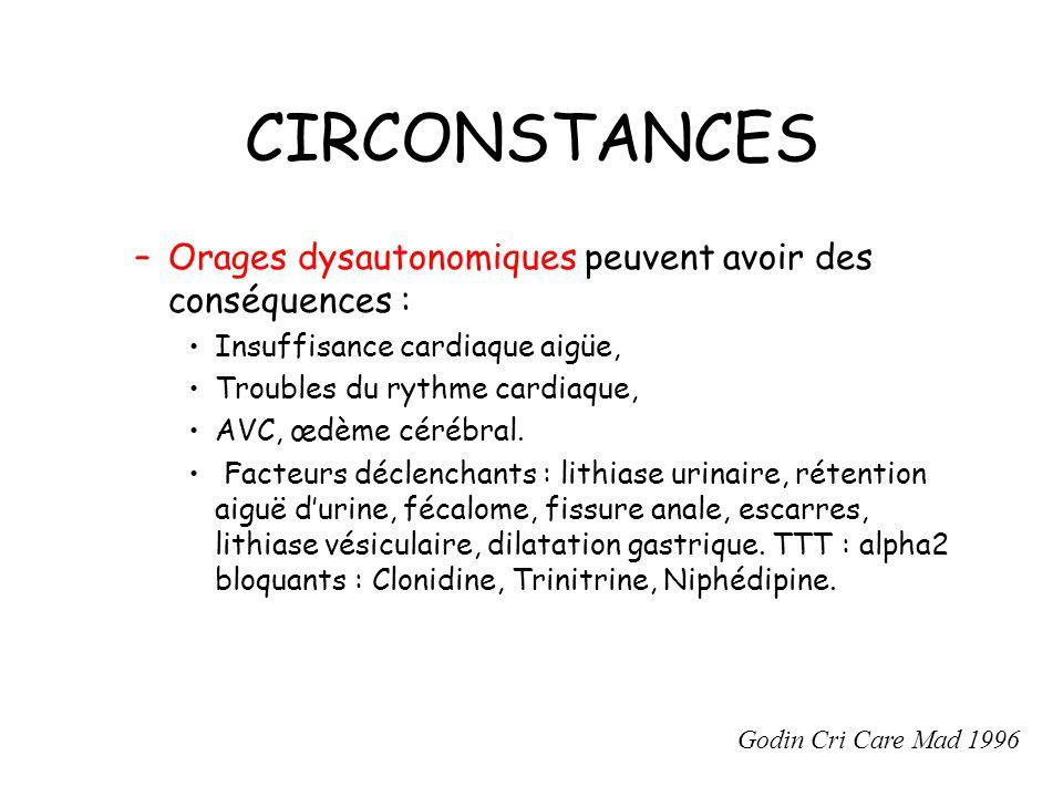 CIRCONSTANCES –Orages dysautonomiques peuvent avoir des conséquences : Insuffisance cardiaque aigüe, Troubles du rythme cardiaque, AVC, œdème cérébral.