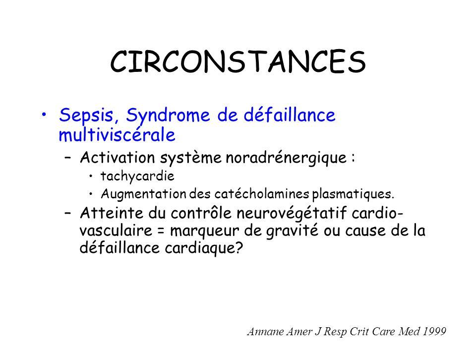 CIRCONSTANCES Sepsis, Syndrome de défaillance multiviscérale –Activation système noradrénergique : tachycardie Augmentation des catécholamines plasmatiques.