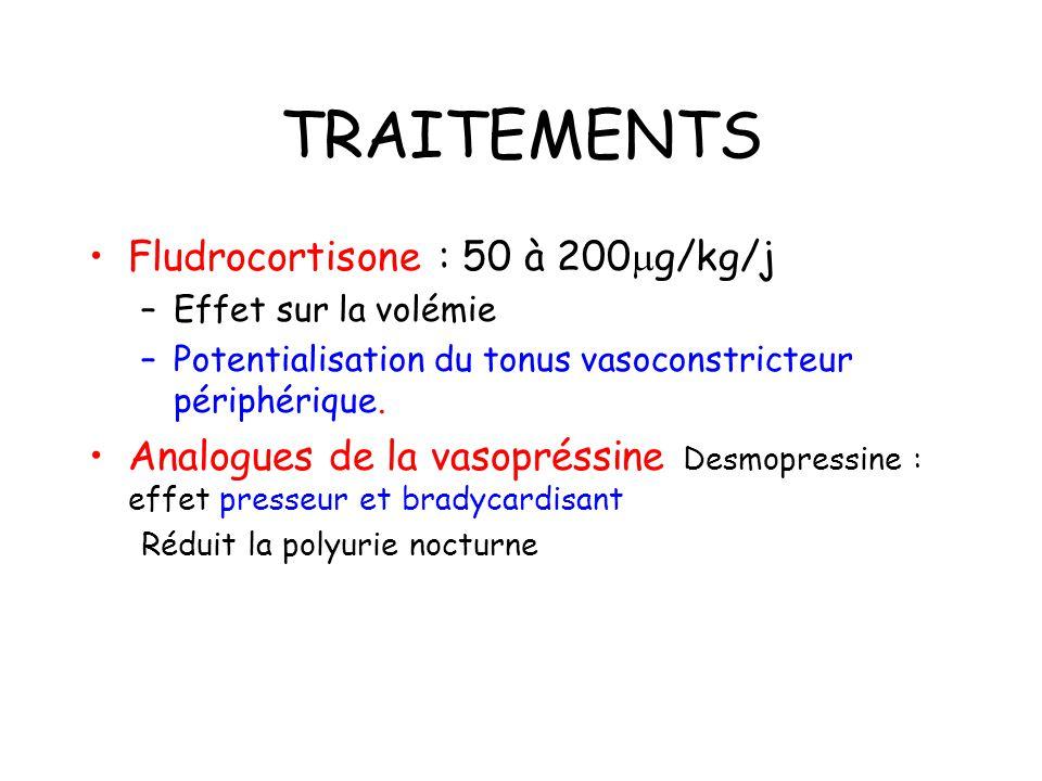 TRAITEMENTS Fludrocortisone : 50 à 200 g/kg/j –Effet sur la volémie –Potentialisation du tonus vasoconstricteur périphérique.